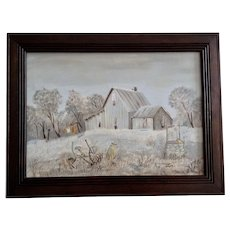 Lee, Rural Farmhouse Yard Landscape Oil Painting Signed