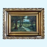 Forest Stream Landscape 19th Century Oil Painting