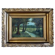 Forest Stream Landscape 19th Century Oil Painting on Board Monogrammed