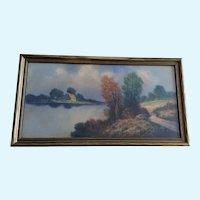 Albert Francis Glatthaar (1879 - 1950) Autumn River Landscape Pastel Painting