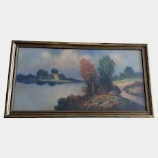 Albert Francis Glatthaar (1879 - 1950) Autumn Colors in River Landscape Pastel Painting Signed by Listed Artist