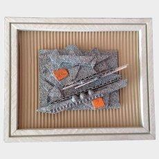 Mark Oeser, Contemporary Art Collage Cardboard Acrylic Splatter Painting Colorado Artist