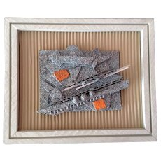 Mark Oeser, Contemporary Art Collage Cardboard Acrylic Splatter Painting Colorado Artist