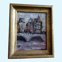 Margo, Houses by a Stone Bridge Oil Painting 1965 Signed By Artist
