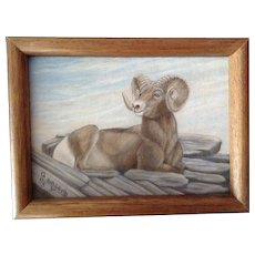 C. Holcomb, Bighorn Sheep Acrylic Painting on Canvas Board Signed By Artist