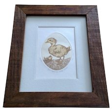 Carol Travers Lummus Etching 'You Can't Go Home Again' Duck Just Hatched From Egg 1976 Signed and Numbered