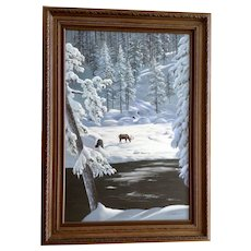 E Rozen, Elk in Snow Covered Forest Landscape Oil Painting on Canvas Signed by Artist
