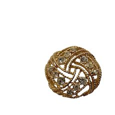 Gold-Tone Filigree Ball of String with Faux Diamond Rhinestone Crystals Brooch Pin