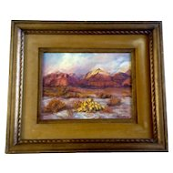 Dee LeFevre, Oil Painting on Canvas Board, Landscape, Signed by Colorado Artist, Vintage 1960's with Original Wood Frame