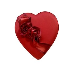 Gorgeous Red Satin Valentine's Heart Godiva Chocolates Candy Gift Box