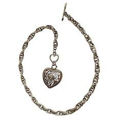 Silver-Tone Filigree Heart Choker Chain Necklace