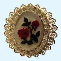 Rose Flowers Lucite Center with Rhinestone Surround on Gold-Tone Brooch Pin