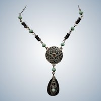 Silver-Tone Filigree with Black and Turquoise Colored  Beads and Rhinestones Chain Necklace