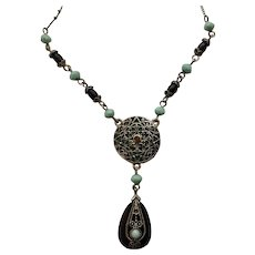 Silver-Tone Filigree with Black and Turquoise Beads and Rhinestones Chain Necklace