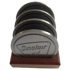 Sinclair Dinosaur Gas Station Pewter Metal Coasters Never Used
