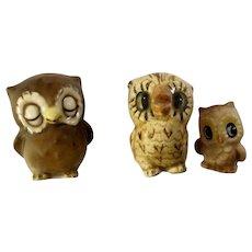Vintage Miniature Baby Owl Brothers Ceramic Figurine Group