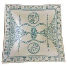 Mid-Century Frank Roth Medusa Rome Aqua Blue Square Glass Platter Dish