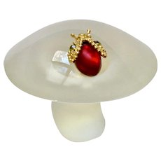 1970's Viking Glass Mushroom with Jeweled Ladybug Bug Clear to Frost Figurine 3-1/2 inches