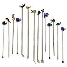 14 Vintage Art Glass Animal Swizzle Stir Rod Stick Group