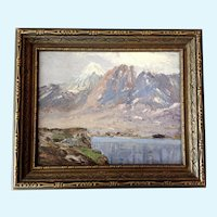 F. Elzey European Alps Mountain Landscape Oil Painting