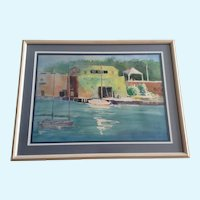 Nancy Poe, Sailboats Moored Key West Sea Port Watercolor Painting