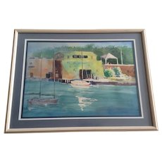 Nancy Poe, Sailboats Moored at Key West Sea Port Watercolor Painting Signed by Artist