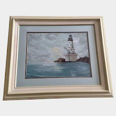 Gagi, Rock of Ages Lighthouse Lake Superior Acrylic Painting Signed by Artist
