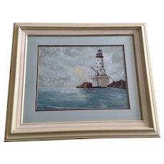 Gagi, Rock of Ages Lighthouse Lake Superior Acrylic Painting