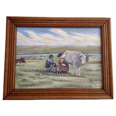 V. S. Severinsen, Older Man and Woman Milking a Cow Landscape Oil Painting on Board Signed by Artist
