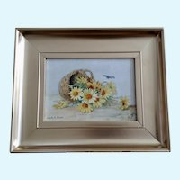 Catharina Klein, 1905 Basket of Yellow Daisies with Butterfly Oil Painting