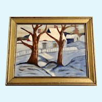 E C Borcherd, Winter Landscape Oil Painting on Board Signed by Artist