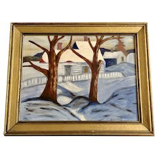 E C Borcherd, Winter Landscape Oil Painting on Board Signed by Artist