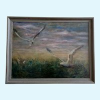 Le Bonar Johnathan's Fellow Gulls Seagulls Flying Original Oil Painting