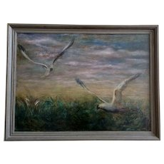 Le Bonar Johnathan's Fellow Gulls Seagulls Flying Original Oil Painting on Canvas Signed by Artist