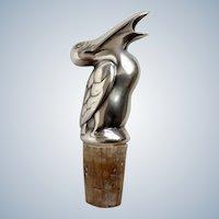 1920's Sterling-Tone Pelican Bottle Decanter Stopper Pourer Spout Cork Barware