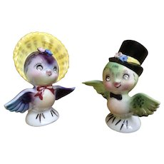 Vintage PY Bluebirds Salt & Pepper Shakers Anthropomorphic with Diamond Rhinestone Eyes Made in Japan #045