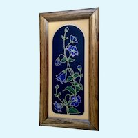 Vintage Morning Glories Reverse Glass Art Flower Painting with Gold Highlights