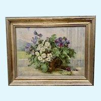 Jakob (Ar.) Arnold Stutz Flowering Plants in Windowsill Vintage Lithograph Print