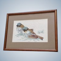 House Sparrows in the Snow Original Mixed Media Ink and Watercolor Painting Monogrammed bu Artist