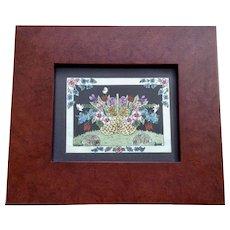 Sandra Gilpin, Basket of Flowers and Bunnies Scherenschnitte Silhouette Mixed Media Folk Art Signed