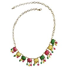 Colorful Pink, Green and Yellow Dangling Beads and Faux Gems on Gold-Tone Chain Necklace 23-1/2""