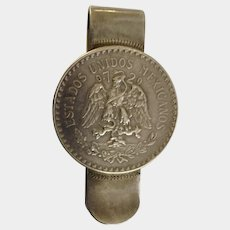 1930's Mexican Sterling Silver Un Peso Coin Cap & Rays with Eagle Snake Money Clip