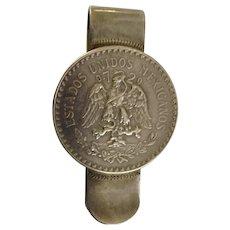 1930's Mexican Sterling Silver Un Peso Coin Money Clip