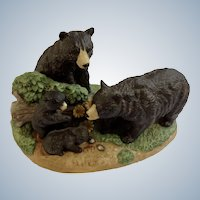 1984 Royal Windsor, Black Bear Southern Forest Families Porcelain Figurine Crafted in Japan Retired