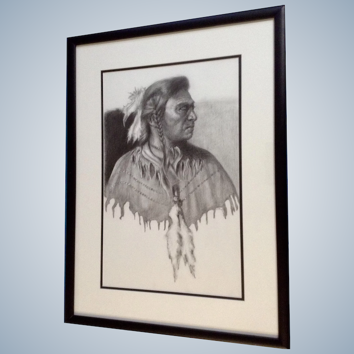 Linda Roane Native American Indian Pencil Portrait Works On Paper Signed By Artist