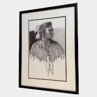 Linda Roane, Native American Indian Pencil Portrait Works on Paper Signed by Artist