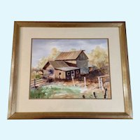 Wil Anderson, Titled, 'Time Was' Old Farm House Watercolor Painting