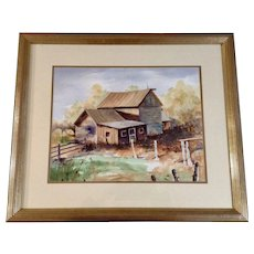 Wil Anderson, Titled, 'Time Was' Watercolor Painting of an Old Farm House Signed By Golden, Colorado Artist
