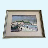 E R Kuffler, Le Port De Cannes Dock French Landscape Watercolor Painting
