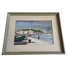 E R Kuffler, Le Port De Cannes From the Dock French Landscape Watercolor Painting Signed by Artist